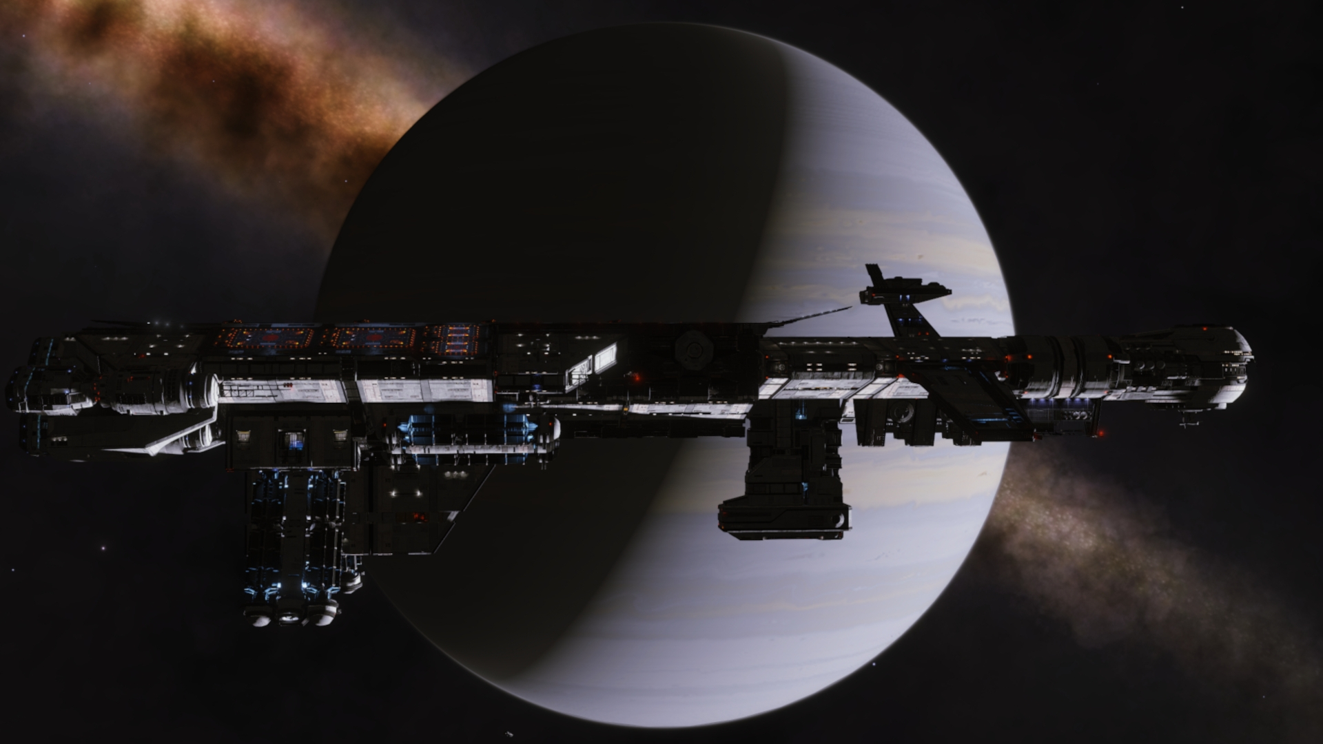 Deep Space Support Array Fleet Carrier Chrysaetos Refuge in orbit around Ringed Gas Giant ABCD 3 a in the 'Xothae MA-A d2' System